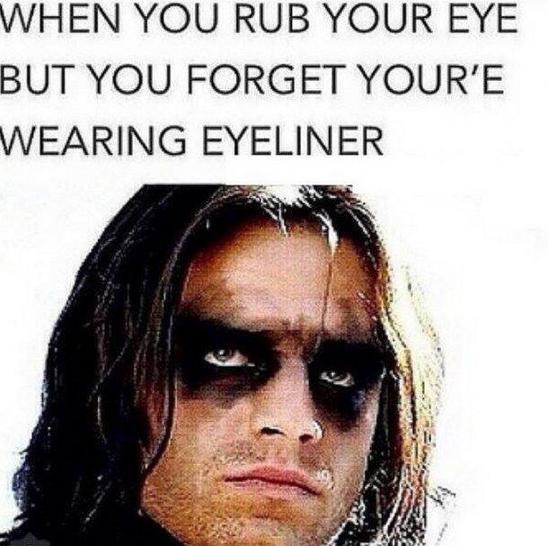 Image result for raccoon eyes makeup meme